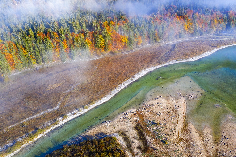 Isar, at the inflow into the Sylvenstein lake, Sylvenstein reservoir, drone image, Lenggries, Isarwinkel, Upper Bavaria, Bavaria, Germany, Europe