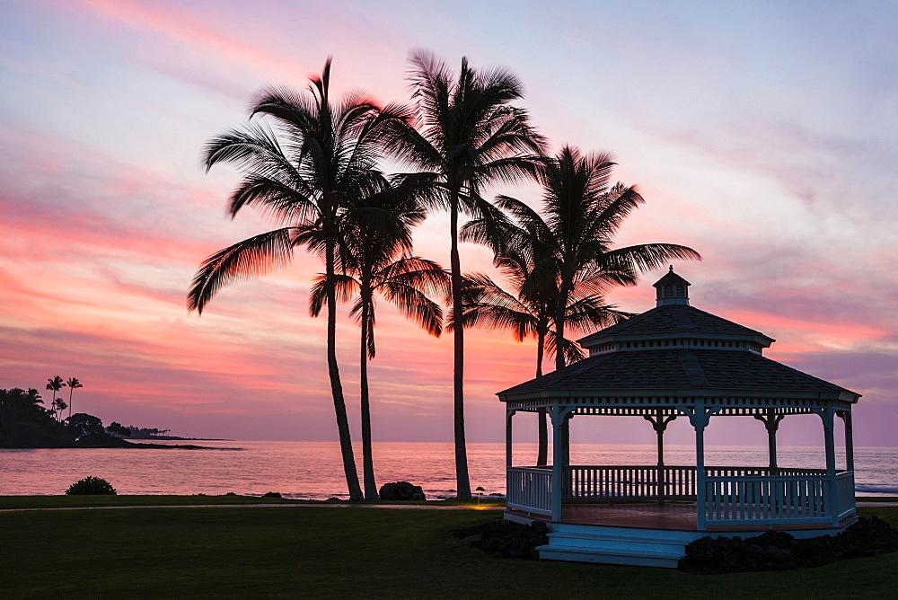 Pavilion, sunset on the beach, Kohala Coast, Big Island, Hawaii, United States, North America - 832-383218