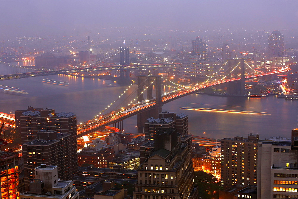Brooklyn and Manhattan Bridge at dusk, Manhattan, New York City, New York, United States, North America