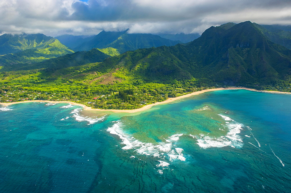 Aerial of the north shore of the island of Kauai, Hawaii, USA, North America