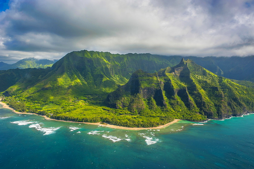 Aerial of the Na Pali Coast, Kauai, Hawaii, USA, North America