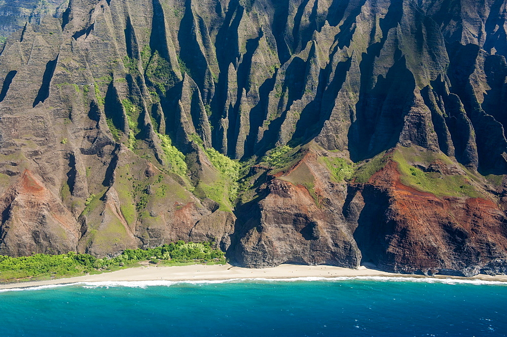 Aerial of the rugged Na Pali Coast, Kauai, Hawaii, USA, North America