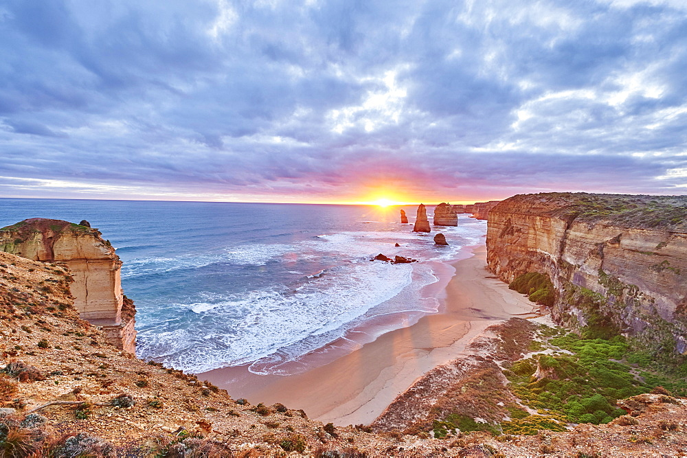 Rocky coast with the Twelve Apostles at sunset, Great Ocean Road, Port Campbell National Park, Victoria, Australia, Oceania