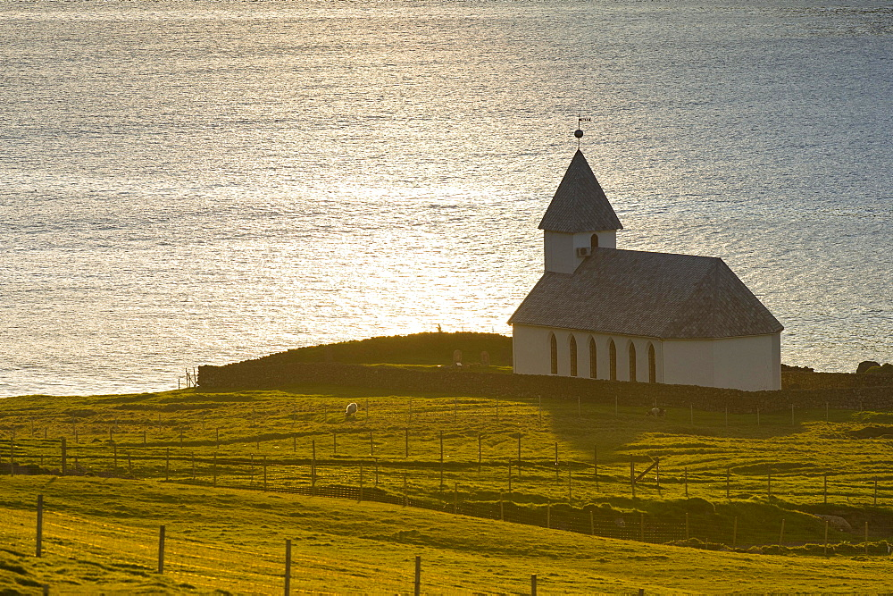 Church by the sea, Vioareioi, Viooy, Faroe Islands, Denmark, Europe