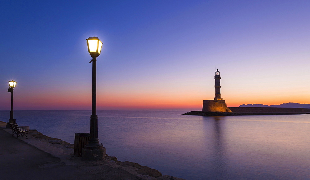 Chania lighthouse at sunrise, harbour, Chania, Crete, Greece, Europe