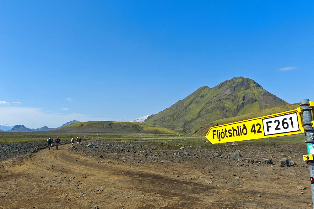 Wild gravel road with a traffic sign to Fljotshlio, Laugavegur trekking route, near Hvanngil, Highlands, Suourland, Iceland, Europe