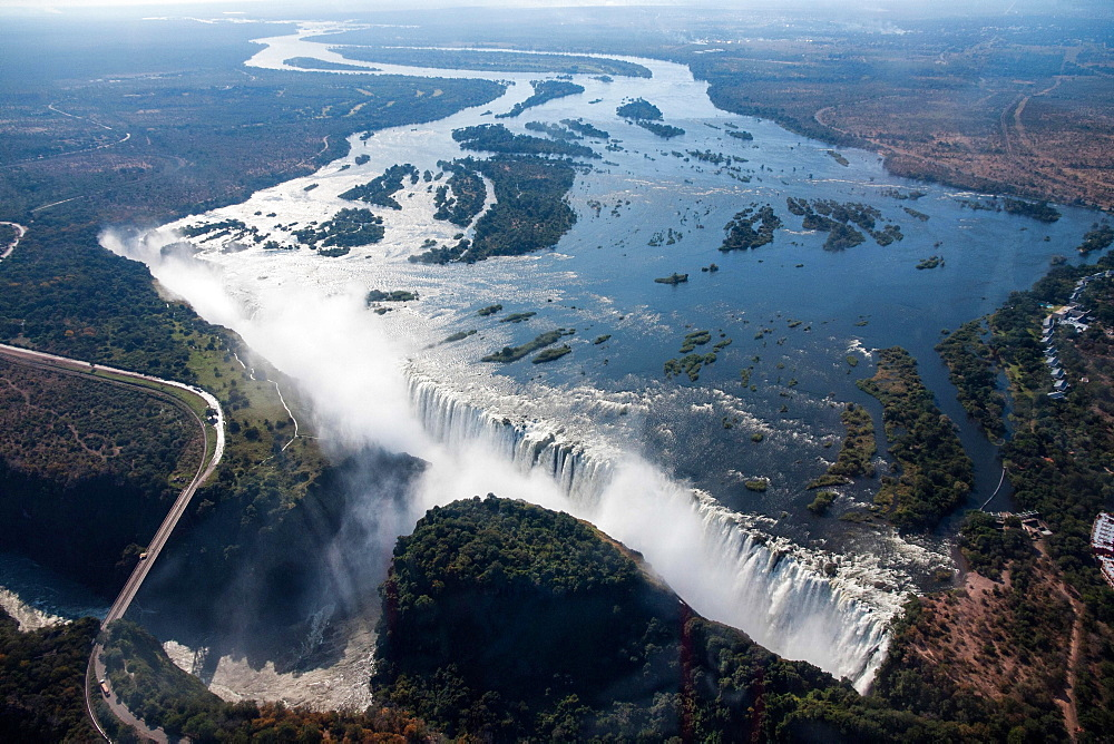 Aerial view, Victoria Falls with the Victoria Falls Bridge over the Zambezi River, Livingstone, Zambia, Africa