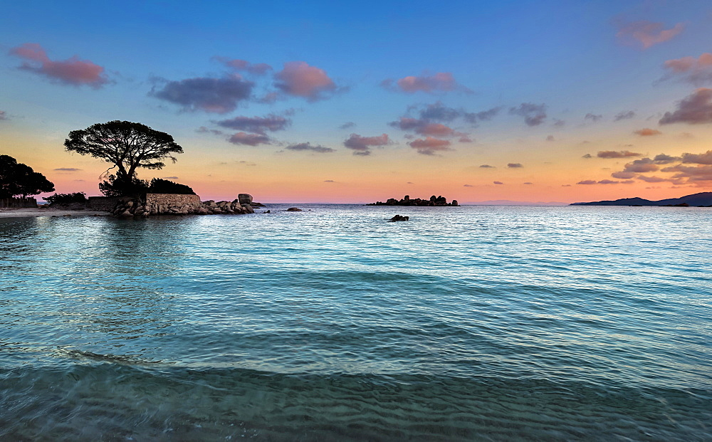 Evening mood, beach of Palombaggia, Porto Vecchio, Corse-du-Sud, Corsica, France, Europe