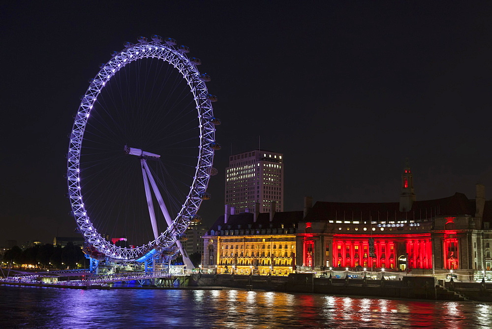 London Eye at night, London, England, United Kingdom, Europe