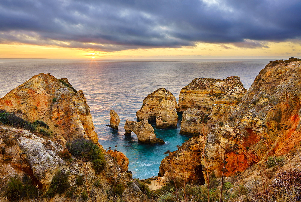 Cliffs of Ponta da Piedade at sunrise, Lagos, Algarve, Portugal, Europe