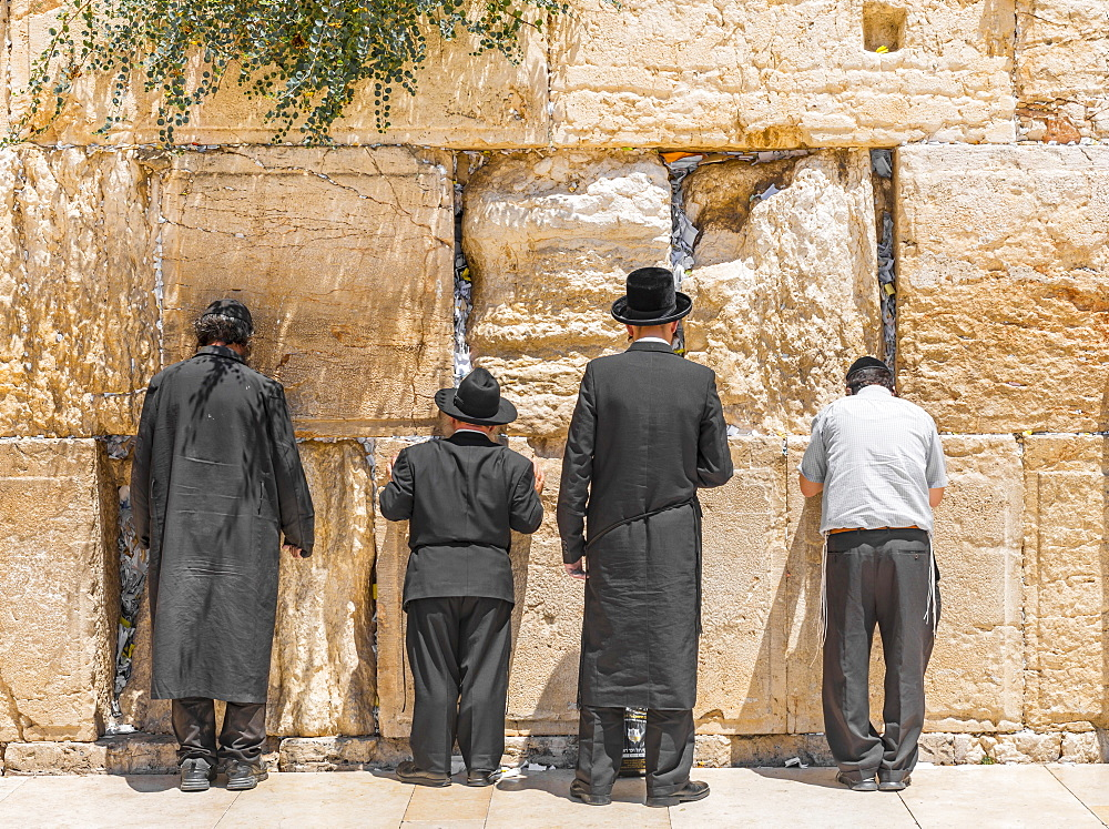 Praying Orthodox Jews at the Wailing Wall, Jerusalem, Israel, Asia