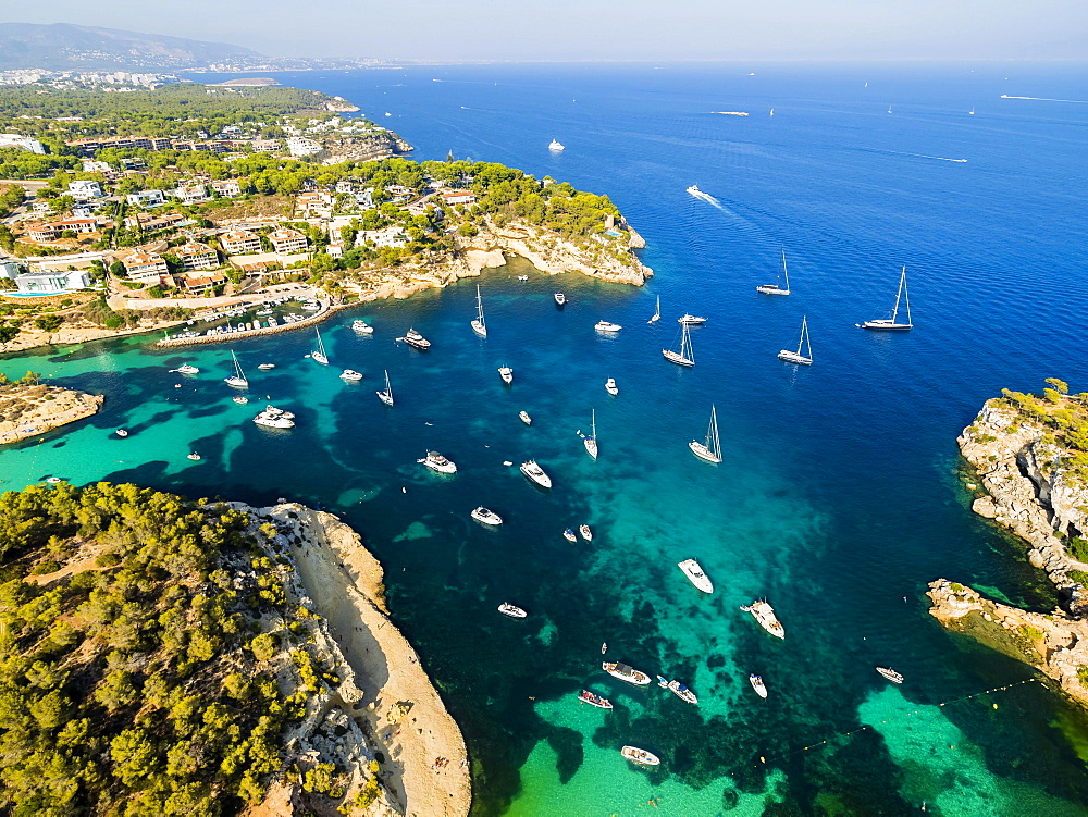 Aerial view, yachts at Portals Vells, Majorca, Balearic Islands, Spain, Europe