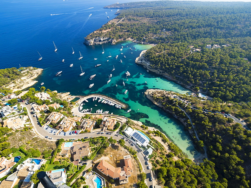 Aerial view, villas and yachts at Portals Vells, Majorca, Balearic Islands, Spain, Europe