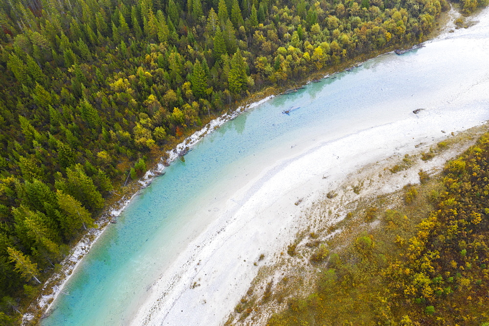 Isar, near Sylvenstein Dam, drone view, Isarwinkel, Upper Bavaria, Bavaria, Germany, Europe - 832-383708