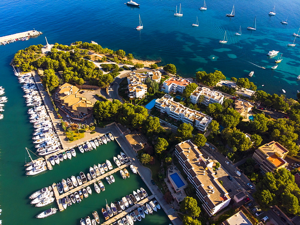 Aerial photo, view of Santa Ponca and the marina of Santa Ponca, behind the Serra de Tramuntana, Majorca, Balearic Islands, Spain, Europe