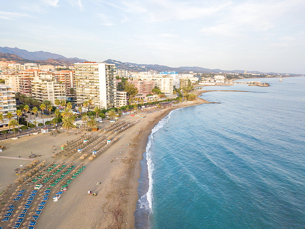 Aerial view of costa del sol in Marbella, Andalusia, Spain, Europe