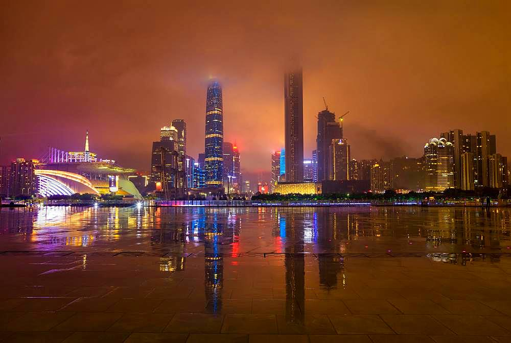 Skyline at night, Guangzhou, Guangdong, China, Asia