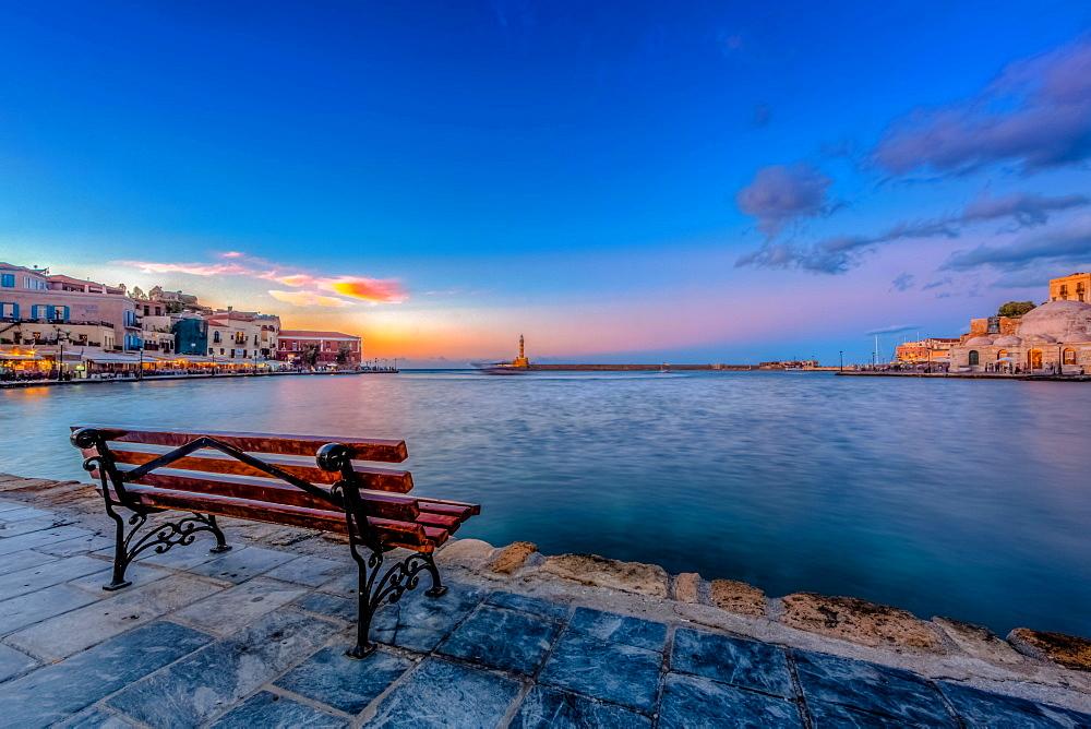 Bank, Port, Sunset, Chania, Crete, Greece, Sunset, Europe