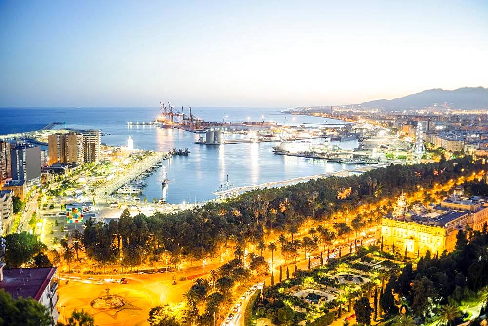 City view with harbour in the evening, Malaga, Andalusia, Spain, Europe