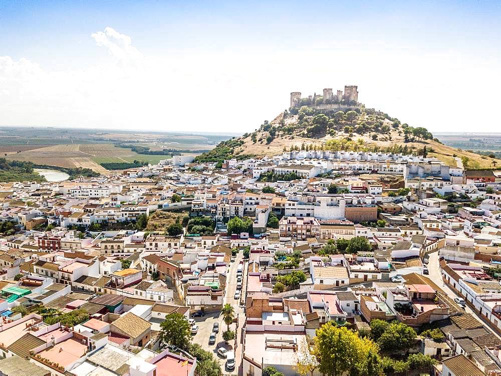 Drone image of Castle of Almodovar del Rio, Cordoba, Andalusia, Spain, Europe