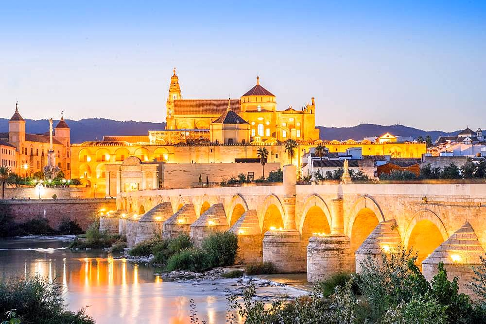 Roman bridge and cathedral, mosque, Cordoba, Andalusia, Spain, Europe
