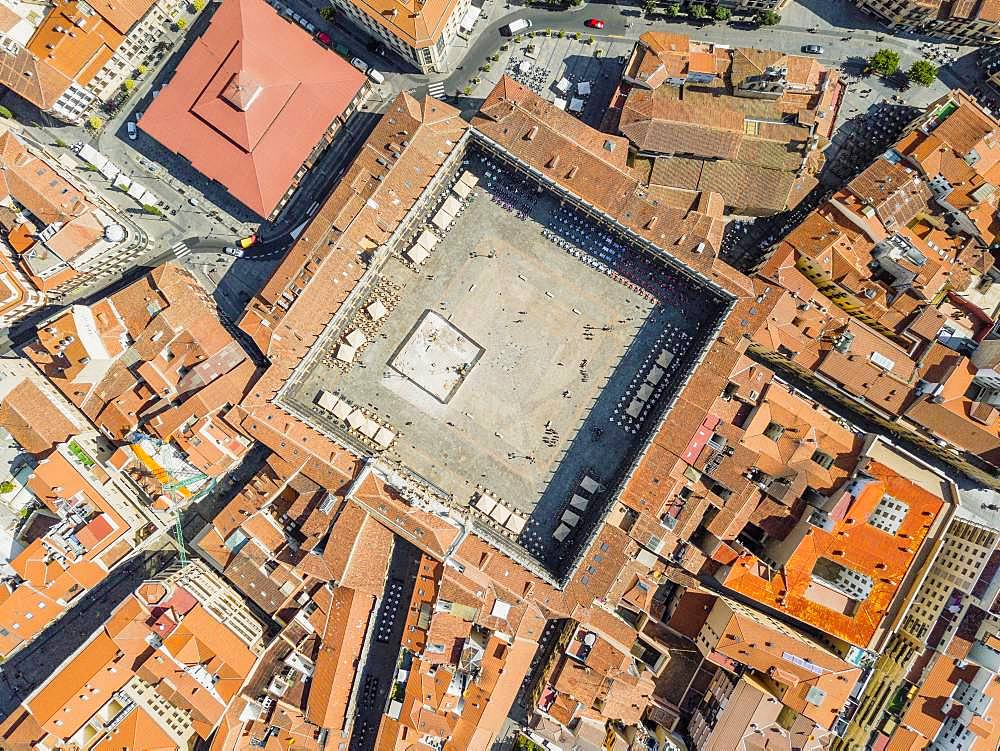 Main square called in Spanish Plaza Mayor, drone image, Salamanca, Spain, Europe