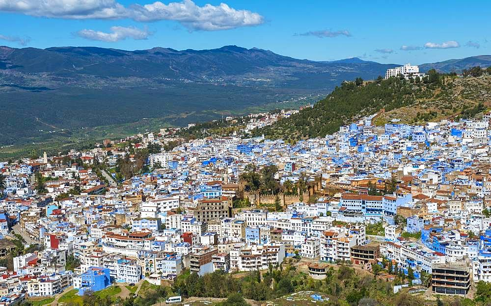 View on blue houses of the medina of Chefchaouen with Kasbah, Chaouen, reef mountains, Tangier-Tetouan, Morocco, Africa