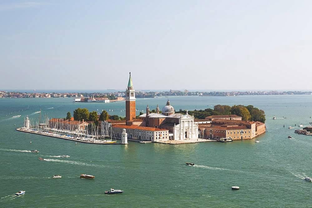 High angle view of 16th century Benedictine church of San Giorgio Maggiore on San Giorgio Maggiore Island, Venice lagoon, Veneto, Italy, Europe