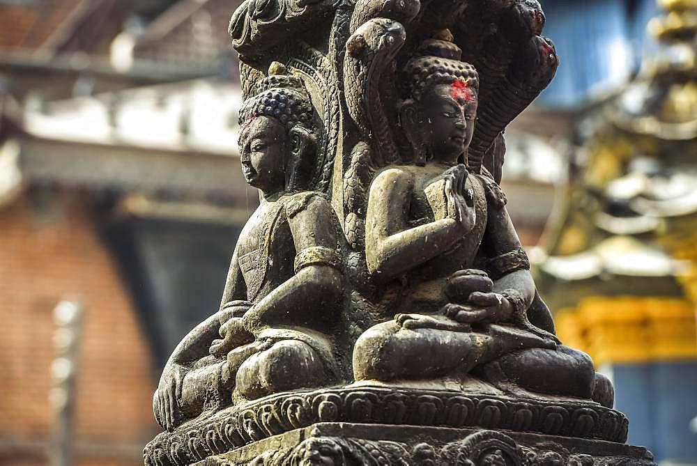 Buddha statue at Kathesimbhu Stupa, Kathmandu, Himalaya region, Nepal, Asia