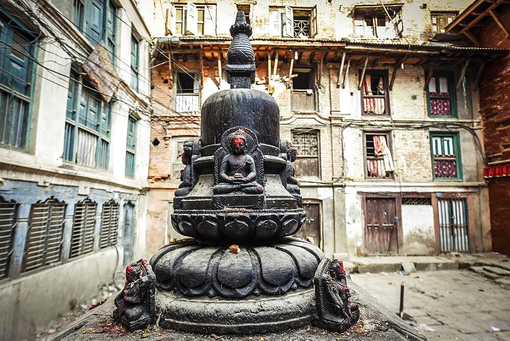 Buddha shrine in the inner courtyard, Kathmandu, Himalaya region, Nepal, Asia