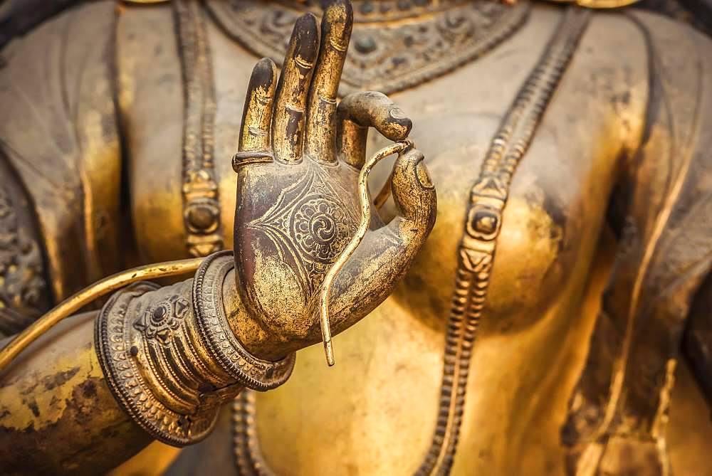 Hand of a statue, Buddhist deity, Temple, Patan, Kathmandu Valley, Himalayan Region, Nepal, Asia