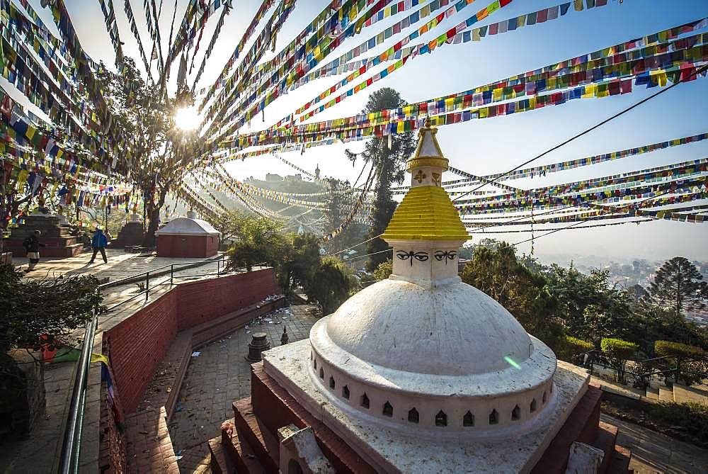 Buddhist Stupa, prayer flags, monkey temple Swayambhunath, Kathmandu, Nepal, Asia