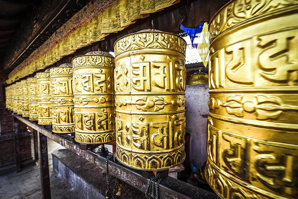 Buddhist prayer wheels, monkey temple Swayambhunath, Kathmandu, Nepal, Asia