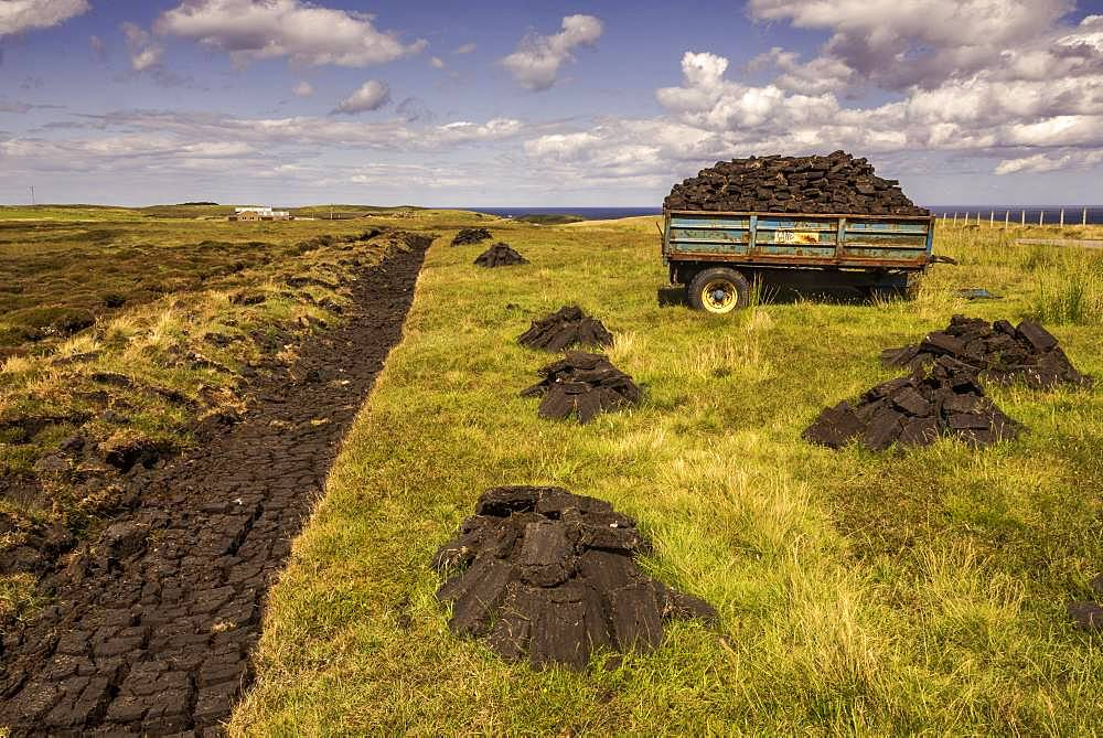 Peat cut in raised bog, peat extraction, Durness, Scottish Highlands, Scotland, Great Britain