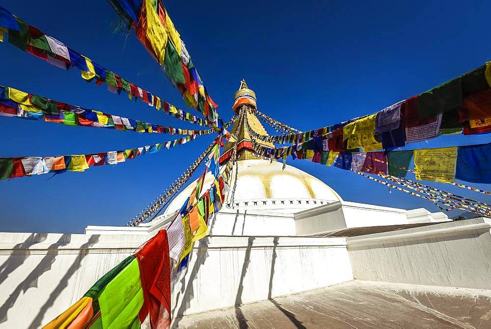 Prayer flags at Boudhanath Stupa, Boudha, Tibetan Buddhism, Kathmandu, Nepal, Asia