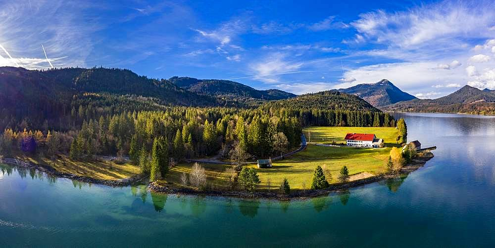 Drone shot, Walchensee surrounded by foothills of the Alps, Upper Bavaria, Bavaria, Germany, Europe