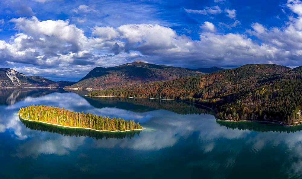 Drone shot, Sassau Island in Walchensee, Alpine foothills, Upper Bavaria, Bavaria, Germany, Europe