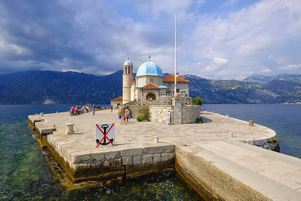 Pilgrimage church on the island of Maria of the Rock, Gospa od Skrpjela, Bay of Kotor, Province of Kotor, Montenegro, Europe