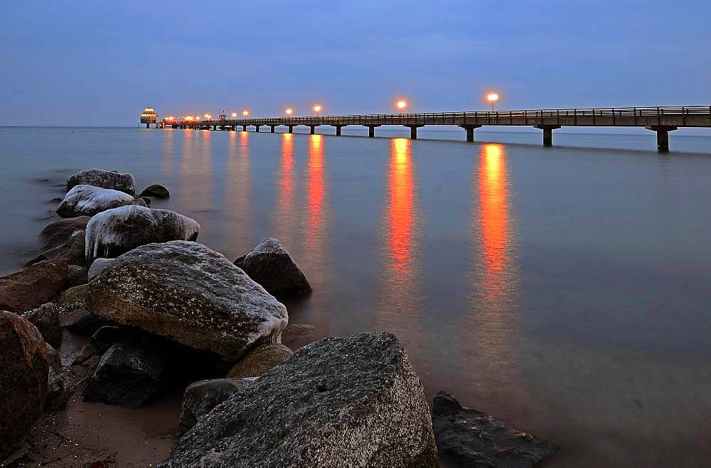 Groemitz pier at the blue hour, Schleswig-Holstein, Germany, Europe