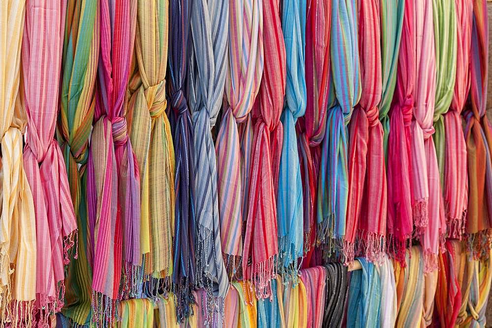 Colored cloths for sale, street market Sineu, Majorca, Balearic Islands, Spain, Europe