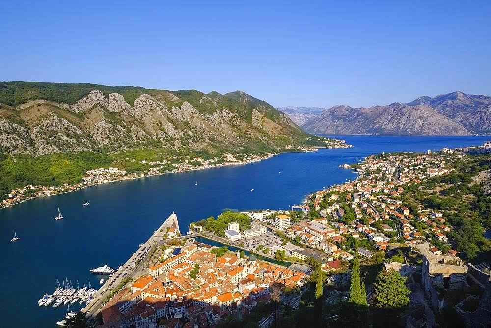 Old town of Kotor and Dobrota, view from fortress Sveti Ivan, bay of Kotor, Montenegro, Europe