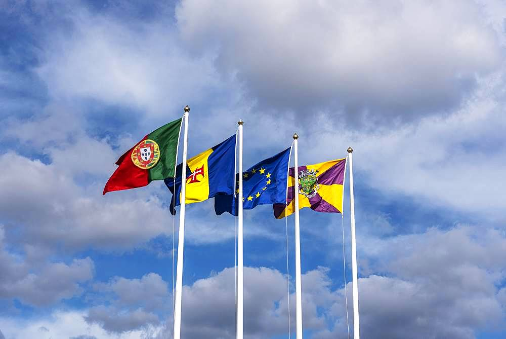 Flags of Portugal, Madeira and Funchal blowing in the wind, Island Madeira, Portugal, Europe