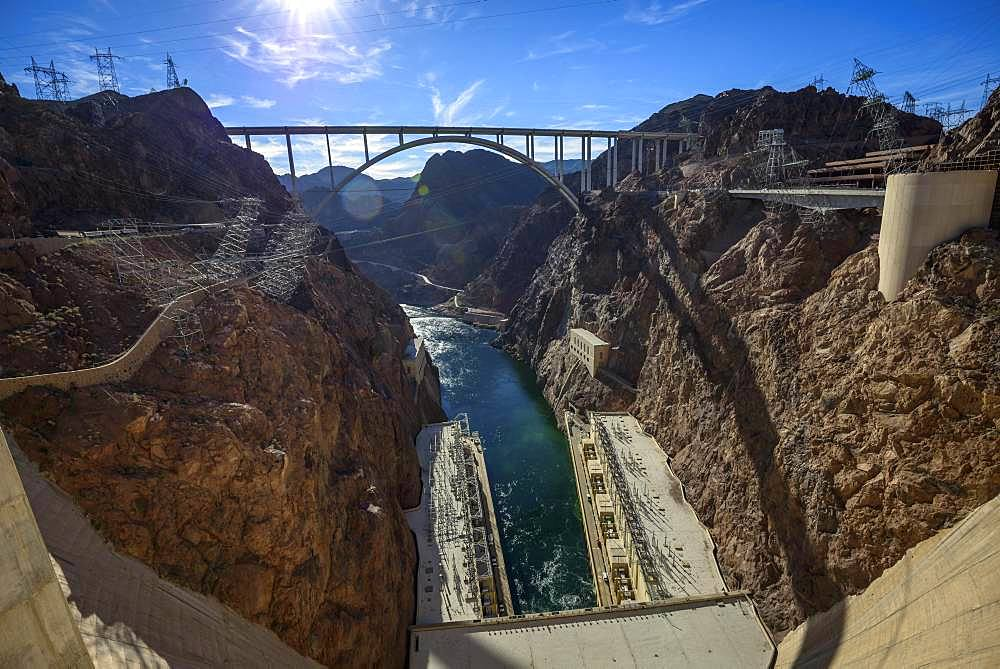 View of the Hoover Dam Bypass Bridge and Dam from the Hoover Dam, Hoover Dam, Dam, near Las Vegas, Colorado River, Boulder City, formerly Junction City, Arizona border, Nevada border, USA, North America