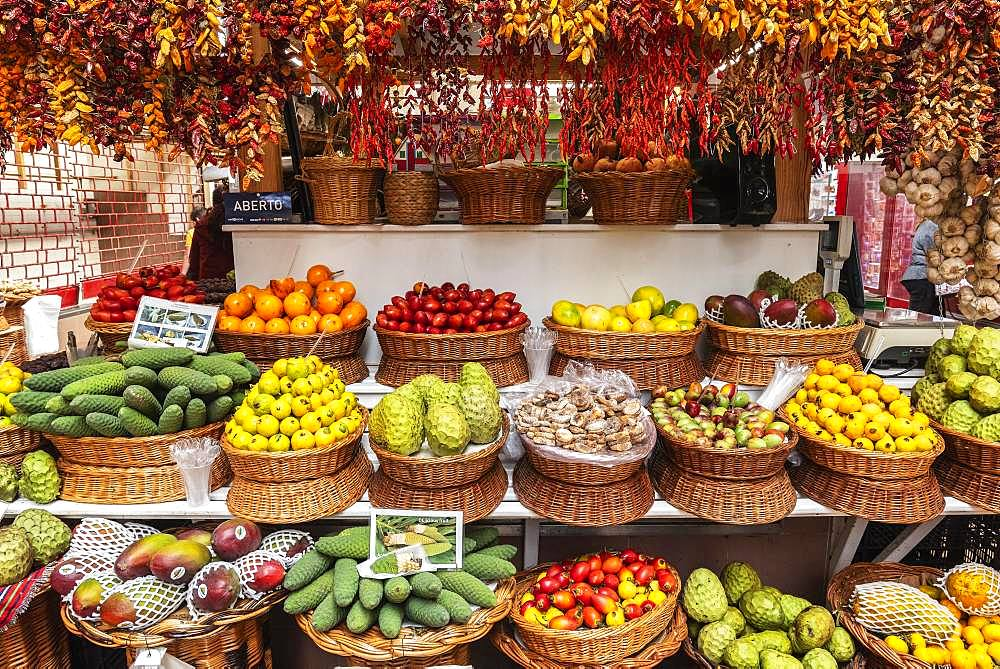 Market stall with various exotic fruits and dried chillies, chillies, market hall, Funchal, Madeira, Portugal, Europe