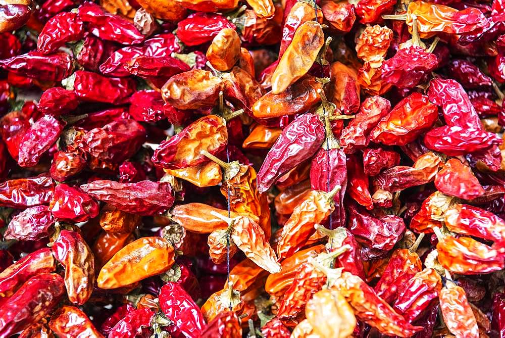 Dried red chillies, chillies, market hall, funchal, Madeira, Portugal, Europe
