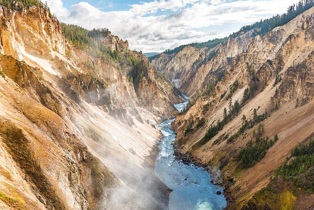 Yellowstone River flows through Gorge, Grand Canyon of the Yellowstone, View from North Rim, Brink of the Lower Falls, Yellowstone National Park, Wyoming, USA, North America