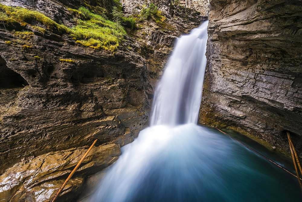 Waterfall, Lower Falls, Mountain River in a Gorge, Johnston Creek in Johnston Canyon, Bow Valley, Banff National Park, Rocky Mountains, Alberta, Canada, North America