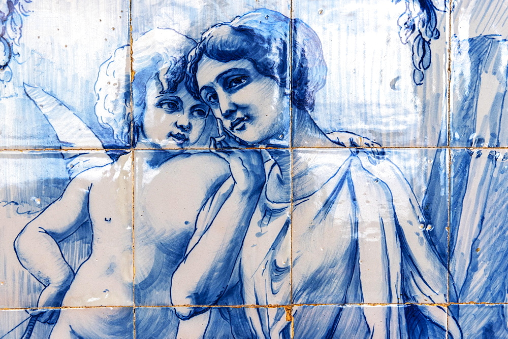 Angel embracing a young woman, historical tile picture of Azulejo tiles, painted ceramic tiles, park of Quinta do Monte Hotel, Funchal, Madeira, Portugal, Europe
