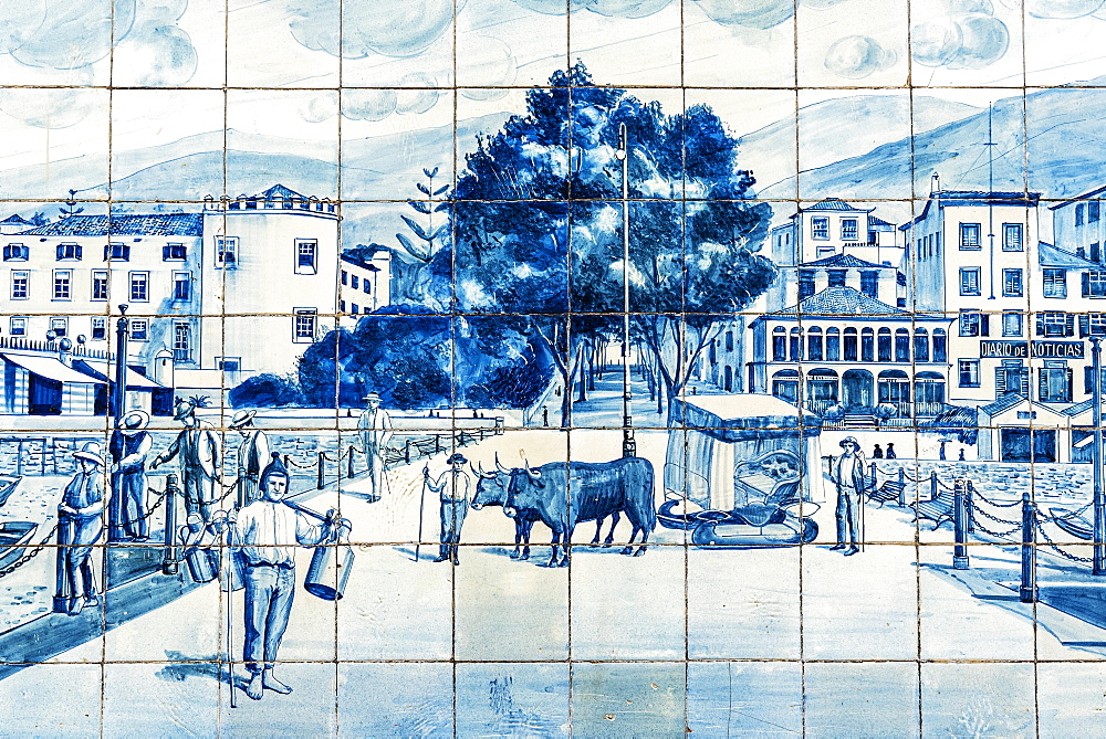 Street scene, historical tile picture from Azulejo tiles, painted ceramic tiles, Funchal, Madeira, Portugal, Europe