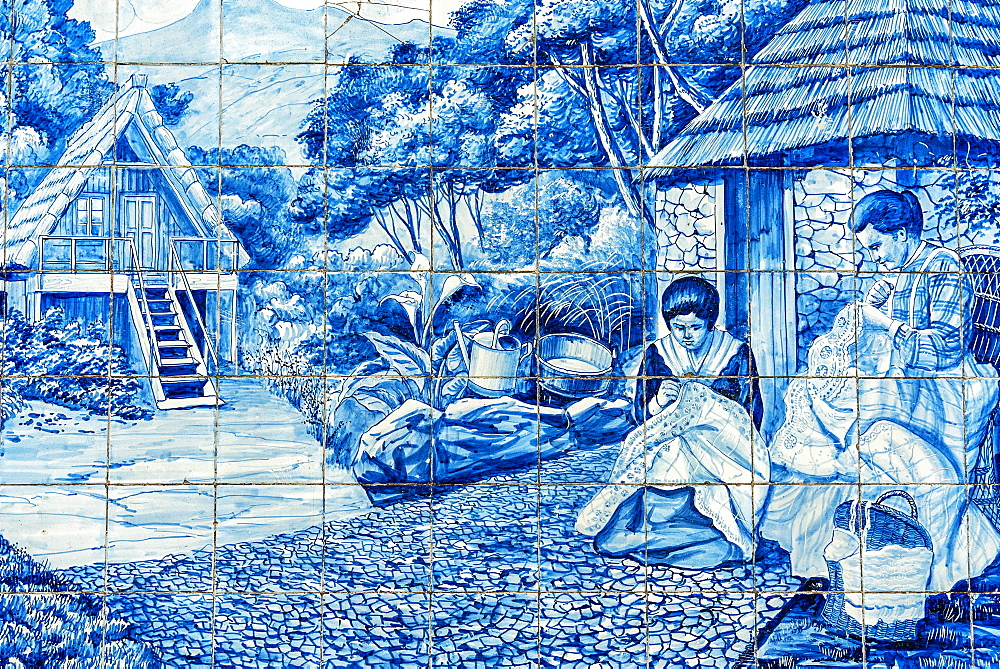 Two women embroidering, historical azulejos, painted ceramic tiles, tiles, funchal, Madeira Island, Portugal, Europe